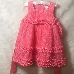 Toddler Pink Dress with White Polka Dots